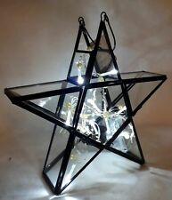 Waitrose Black Metal & Glass Star Lantern Candle Holder with Hanging Chain