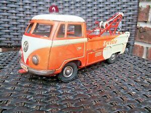 "Vintage 1960'S WEST GERMAN GOSO TIN WIND UP VOLKSWAGON VW TOW TRUCK 10"""