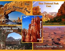 Utah - NATIONAL PARKS Collage - Travel Souvenir Fridge Magnet