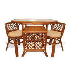 Borneo Handmade Rattan Dining Set,Oval Table with Glass + 2 Chairs Colonial
