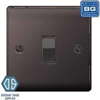 BG Nexus Metal Black Nickel 1 Gang 2 Way 10 Amp 10AX Single Light Switch NBN12