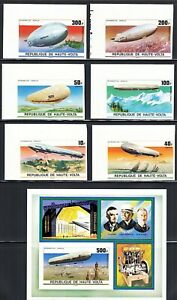 Burkina Faso Zeppelins 1976 IMPERF MNH Complete Set #395/C237 including 500FR SS