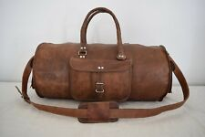 23 In Vintage Brown Leather Duffle Bag Sports Gym Yoga Overnight Travel Luggage