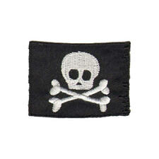 Skull and Crossbones Flag Iron On Patch - Pirate Flag Sew On Motif - Treasure