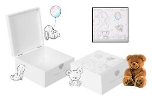 Keepsake Box Baby Treasure Chest Newborn  Gender Neutral  Gift Memory Trunk