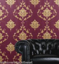 Designer Plum & Gold Damask,With Calligraphy, Heavyweight Blown Vinyl Wallpaper