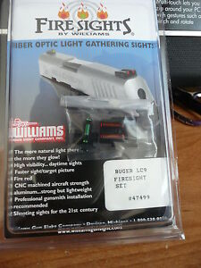WILLIAMS FIRE SIGHT FIBER OPTIC SIGHTS LIGHT GATHERING FOR RUGER LC9, LC9S LC380