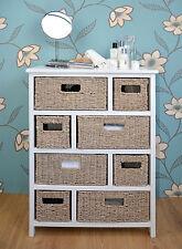 Large Chest of Drawers 8/10 Wicker Maize Basket Storage Unit Cabinet Sideboard 8 Whitewash Baskets