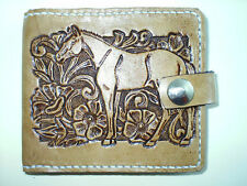 HORSE AND FLORAL HAND CARVED WALLET AW LEATHER GOODS