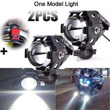 2x 125W Motorcycle U5 Cree LED Headlight Driving Fog Light Bar Spot Lamp+ Switch