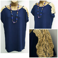 New Womens Baggy Fit Top Ladies Navy Loose Lace Cap Sleeve  T Shirt Plus Size