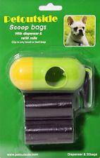 Kit of 30 DOG PET WASTE POOP BAGS with DISPENSER Petoutside USA Retail Pack