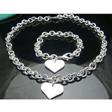 925Sterling Silver Solid Silver Sweet Heart Women Chain Necklace Bracelet Set