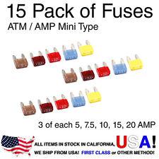 AutomotiveATM APM Mini Fuses Assorted 15 pcs 5A 7.5A 10A 15A 20APack