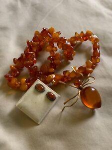 Vtg Lot Butterscotch Amber Lot Necklace, Brooch, Earrings!! NR