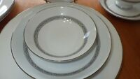 Mikasa China Dinnerware Set Manor House pattern service 4 Platinum scroll band