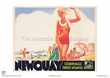 NEWQUAY CORNWALL SURFING POSTER VINTAGE TRAVEL RETRO RAILWAY ADVERTISING ART