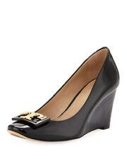 "NIB Tory Burch Gigi Patent Leather 75mm 3"" Wedge Pump Shoes BLACK 10.5 M"