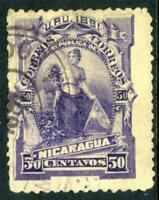 Nicaragua 1890 Seebeck Issues 50¢ Goddess VFU F827 ⭐⭐⭐⭐⭐⭐