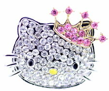 Bling cute cat with crown ring, with pink and clear stones. Adjustable size