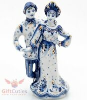 Details about  /Gzhel porcelain Figurine Russian folk Peasant girl with her Cow Гжель