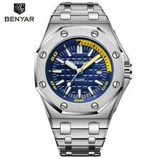 Luxury Benyar Men's Military Watch Japan Quartz Watches Stainless Steel Bracelet
