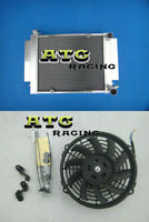 Aluminum Radiator + Fan Racing with Heater pipe For Mazda RX2 RX3 RX4 RX5 RX7