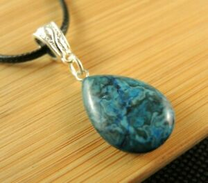 Blue Agate Gemstone Tear Drop Statement Fashion Necklace Pendant #2176