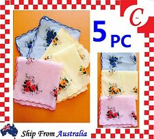 5PC Womens Ladies HANDKERCHIEFS Cotton Pocket Square Hanky Handkerchief New Bulk
