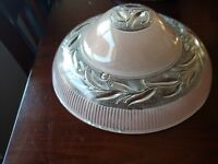 """Vintage Art Deco Pink Peach Domed Glass 3 Hole Ceiling Shade Ribbed Leaves 10"""""""