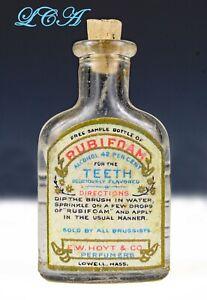 Tiny SAMPLE of RUBIFOAM liquid dentifrice FOR the TEETH antique bottle EMBOSSED
