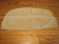 Vintage WWII? U.S.  Military Garrison Cap hat beige with piping