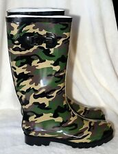 New Style & Co Green Camo Rubber Womens Rain Water Boots SZ 6