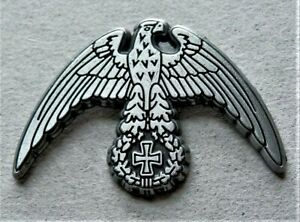 WW2 GERMAN MILITARY PIN BADGE EAGLE AND IRON CROSS  SILVERED REPRO NICE