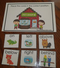 Pet Shop themed Positional Learning game. Prepositions.  Preschool educational a