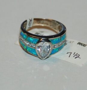 Sterling Silver Opalite ,Cubic Zirconia Ring Sz 7.5 NWT