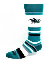 San Jose Sharks NHL Turquoise White Black and Gray Fuzzy Striped Crew Socks