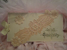 Antique Victorian Silk Ribbon Christmas Card EMBOSSED DESIGN / Signed