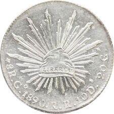 Mexico 8 Reales Go 1890 R.R. Guanajuato, ANACS AU58 (Cleaned)