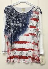 Jess and Jane Vintage Flag Shirt American Patriotic Red White & Blue 2X New