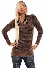 10147 Langarm-Pullover kuschel Pulli Minikleid in 6 Farben Gr. 36 38