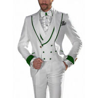 3 Piece White Men's Tuxedo Wedding Suits Green Rim Formal Groom Party Prom Suit