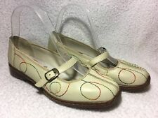 RIEKER ivory cream leather Mary Jane style low wedge stitching detail shoes UK 4