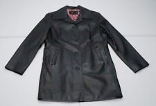 Studio Y Womens L Black Lined Leather Trench Coat