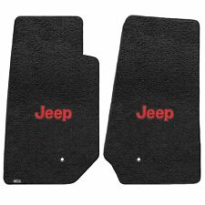 Jeep Wrangler 2007-2013 2Pc Front Car Floor Mats Carpet Black Red Jeep Logo