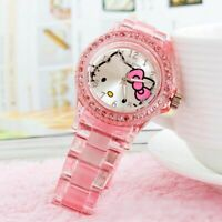 Hello Kitty Pink Quartz Wristwatches for girls high quality watch -FREE SHIPPING