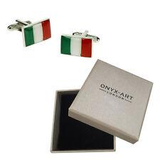 Mens Italian Flag Italy Cufflinks & Gift Box By Onyx Art