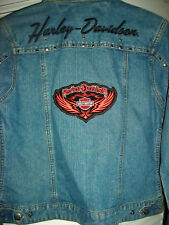 WOMENS HARLEY DAVIDSON WINGS PATCH STUDDED EMBROIDERED DENIM JACKET SMALL
