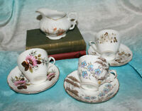 Vintage 3 Tea Cup Saucer Sets Matching Bone China England Queen Anne w/ Creamer
