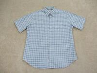 Peter Millar Shirt Adult Extra Large Blue Black Plaid Casual Camp Mens